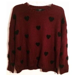 Burgundy pullover sweater with black hearts
